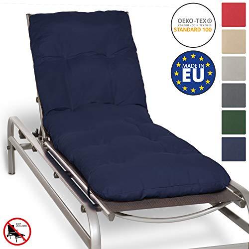 Beautissu Auflage für Garten-Liege Flair RL 190x60x8cm Sitz-Polster für Sonnenliege Schaumflocken-Füllung Dunkelblau erhältlich