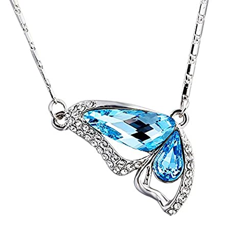 "Butterfly Pendant Necklace ""Wings of Love"" – for Women – Beautiful SWAROVSKI® ELEMENTS Aquamarine Crystals – The Perfect Gift – By MUUII® Jewellery"