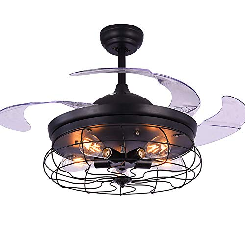 Anfay moderno invisibilità ventilatori a soffitto con lampada e27 led luce bianca lampada della ventola elettrica telecomando 3-level regolabile velocità del vento creativo retro lampadario soffitto,whitelight