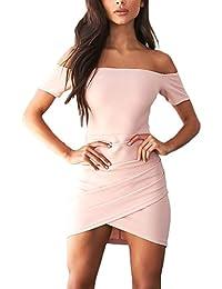 Damen Cocktailkleid Minikleid Elegant Kurz Boot Hals Kurzarm Kleider Eng  Normallacks Zipper Taille… 626cfe4626
