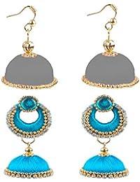 5321c9121 Party wear Handmade Fashionable Handmade Silk Thread Jhumka Chandbali +  Hook [2 Set of Earrings