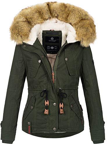 Navahoo warme Damen Designer Winter Jacke Winterjacke mit Kapuze und Teddyfell B643 [B643-Pearl-Grün-Gr.XXL] -