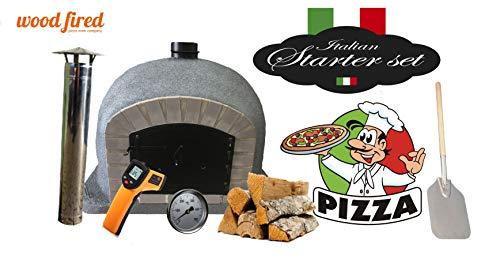 Grey Supreme Wood Fired Pizza Oven Starter Kit, Grey Arch, Black Door, 120CM X 120CM