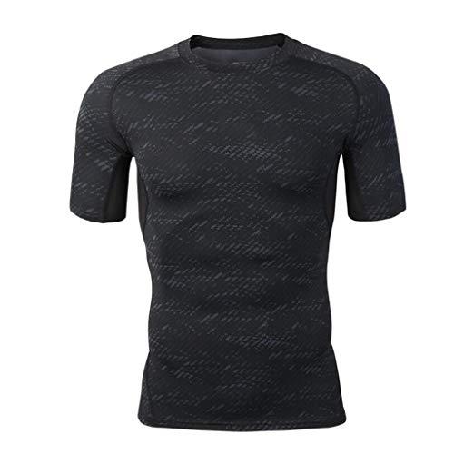 GKKXUE Herren Fitness Wear Sport Strumpfhosen Stretch Kurzarm Schnell Trocknend T-Shirt Basketball Laufen Trainingsanzug (Farbe : SCHWARZ, größe : M)