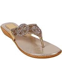 Footshez Women's Golden Flat Sandal