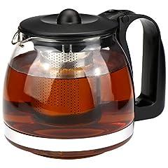 Idea Regalo - com-four® Teiera, brocca in vetro resistente al calore con inserto in acciaio inossidabile (01 pezzi - teiera da 1,1 litri)