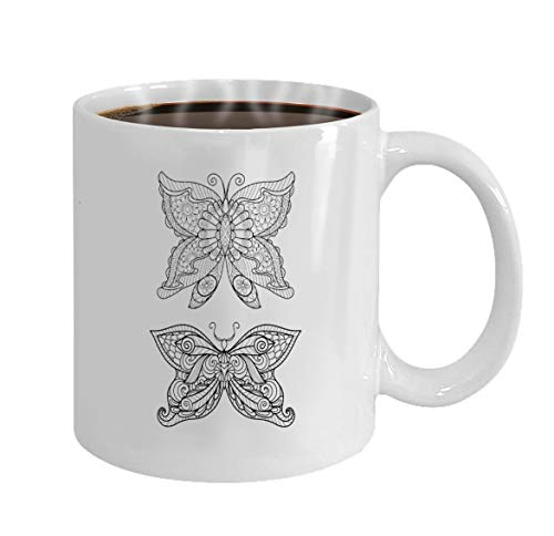 Funny Gifts for Halloween Party Gift Coffee Mug Tea hand drawn butterfly zentangle style coloring book