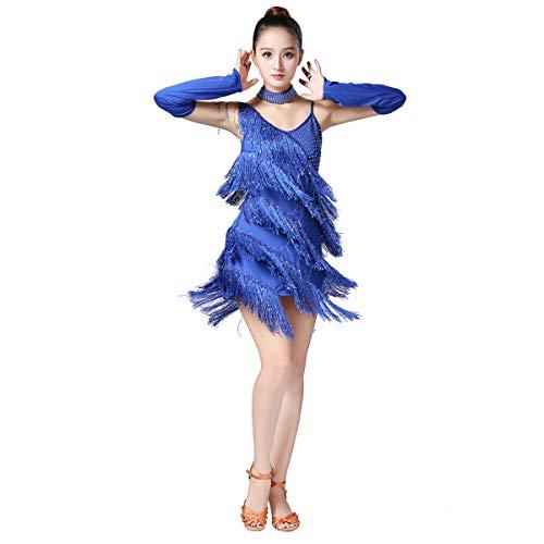 Magogo Latin Dance Kleider Pailletten Quaste Tanz Performance Outfit Kostüm Party Rock (Blau) (Tänzerin Fancy Dress Kostüme)