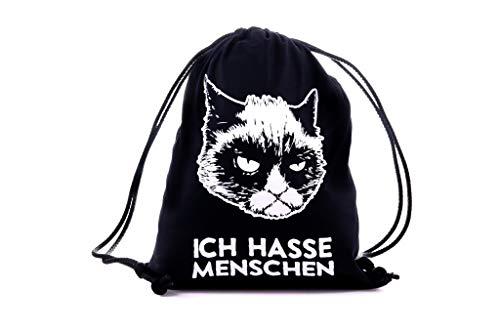Preisvergleich Produktbild FunFacts Turnbeutel / Sportbeutel Unisex Ich Hasse Menschen aus 100% Baumwolle.