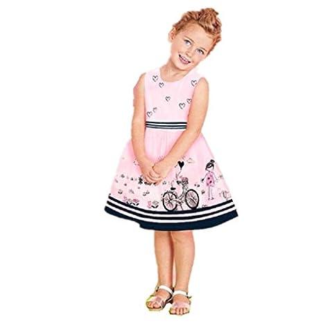 Vovotrade Kleinkind Kinder Printing Bequeme Kleid Mädchen Rosa ärmellose Party Prinzessin Festzug Kleider für Baby 2 Jahre-8 Jahre (Rosa, 3-4