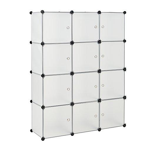 [neu.haus] Regalsystem DIY mit 12 Fächern weiß [144x110cm] Kunststoff Steckregal