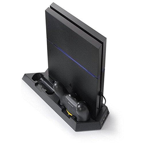 PS4 Controller Ladestation Standfuß mit Kühler Lüfter 3x USB Anschluss schwarz - booEy