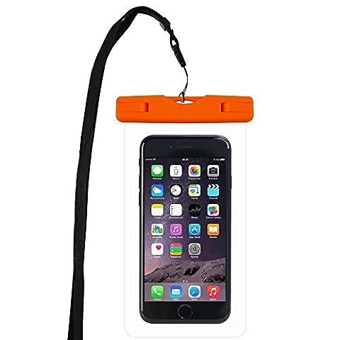 WindTeco Certifiée IPX8 Pochette Sac étanche Universel Waterproof Case Bag Housse Coque Etui pour Smartphones de Taille Égale et Inférieure à 6'', idéal pour natation, la plage, pêche, la randonnée (Orange)