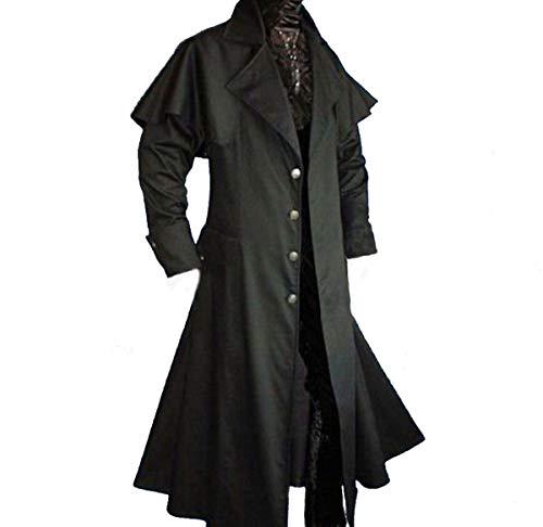Schwarzer Mantel Kostüm - Dark Dreams Gothic Mittelalter LARP Vampir Jäger Kutscher Mantel Box Coat Belial schwarz, Farbe:schwarz, Größe:XXL