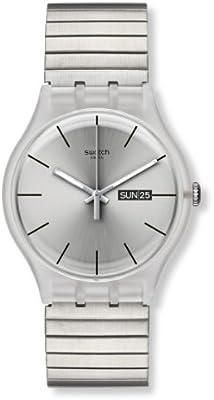 Swatch SUOK700B - Reloj analógico unisex de acero inoxidable recubierto plata