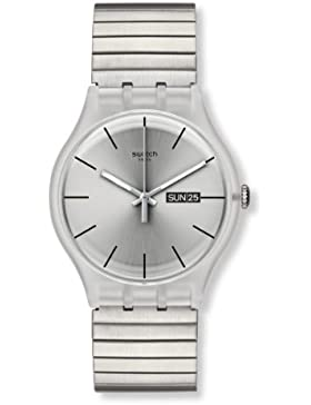 Swatch Unisex-Armbanduhr Resolution Small Analog Quarz Edelstahl beschichtet SUOK700B