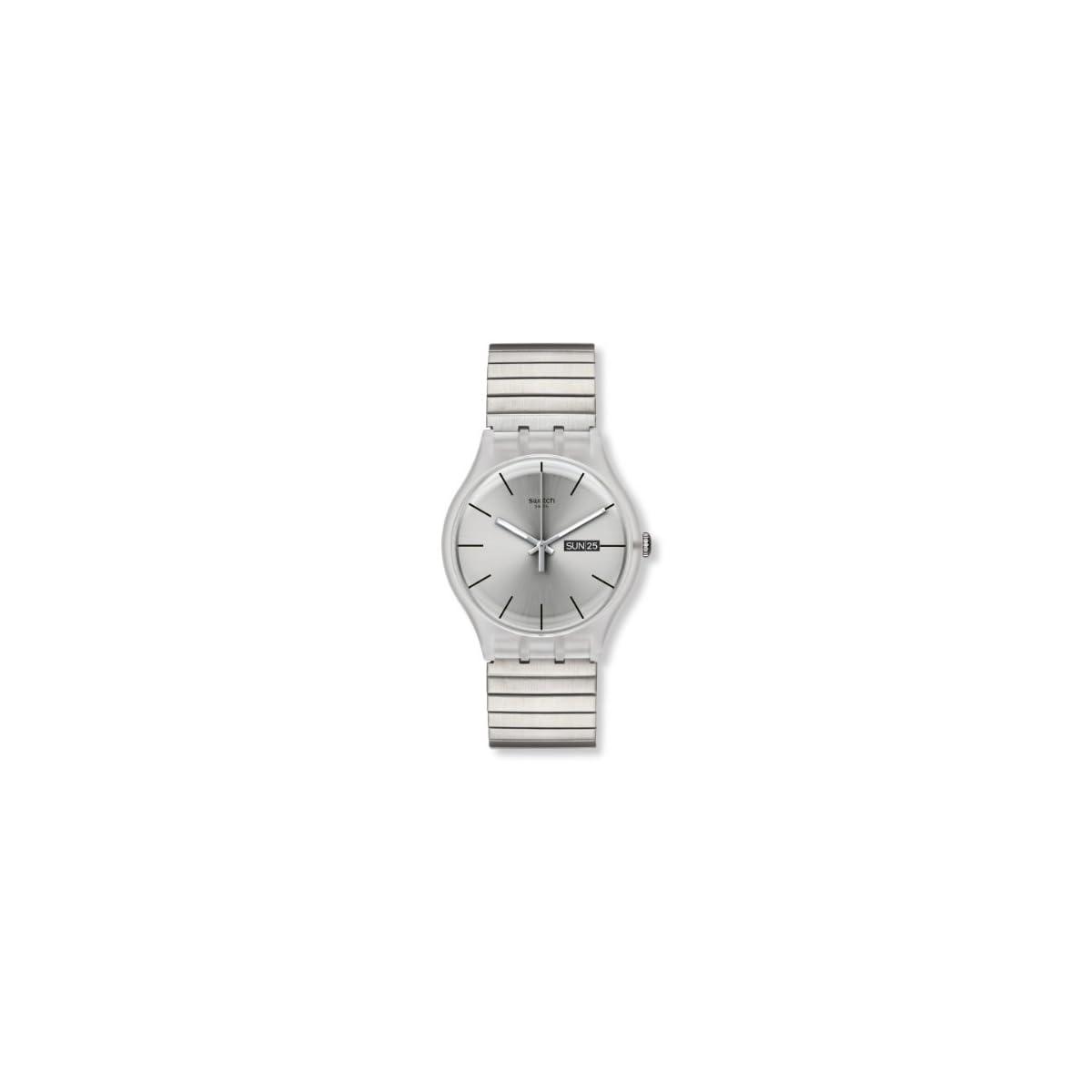 415wfXv7CZL. SS1200  - Swatch SUOK700B - Reloj analógico Unisex de Acero Inoxidable Recubierto Plata