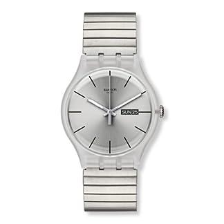 Swatch SUOK700B – Reloj analógico Unisex de Acero Inoxidable Recubierto Plata