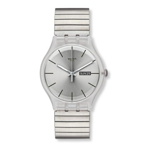 Swatch Herren-Armbanduhr XL Resolution Large Analog Quarz Edelstahl beschichtet SUOK700A