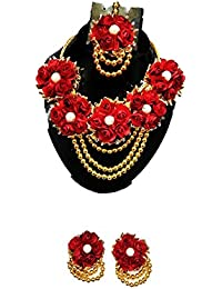 K&K KREATION RED AND GOLDEN FLORAL AND PEARL JEWEL SET