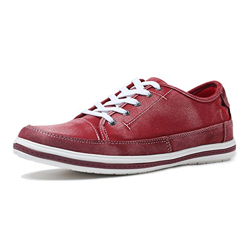 Yolkomo Moderne Lässige Herren Wildleder Low Top Sneaker Canvas Espadrille Schuhe Rot 43 (Schuhe Espadrilles Canvas)