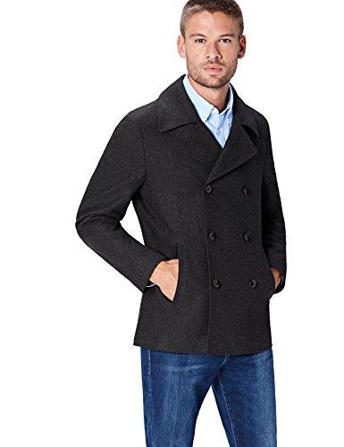 FIND Jacke Herren Caban-Peacoat-Mantel aus Wollmischung, Grau (Grey), Small