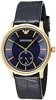 Emporio Armani Classic Men's Blue Dial Leather Band Watch - AR