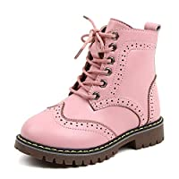 anbi Kids Fashion Martin Boots PU Ankle Boots for Girls(Pink,13UKChild)