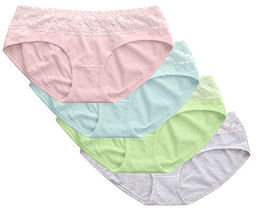 BesserBay Damen Bikinislips Soft Panties mit Spitze Baumwolle Unterhosen 4er Pack BE4021 M (Haut Zweite Bikini)