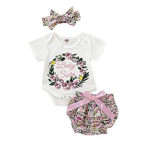 Loveablely Baby Mädchen Große Kleine Schwester Familie Passende Outfits Sets Strampler T-Shirt+PP Shorts+Stirnband - Große Passende Kleine Schwester Schwester