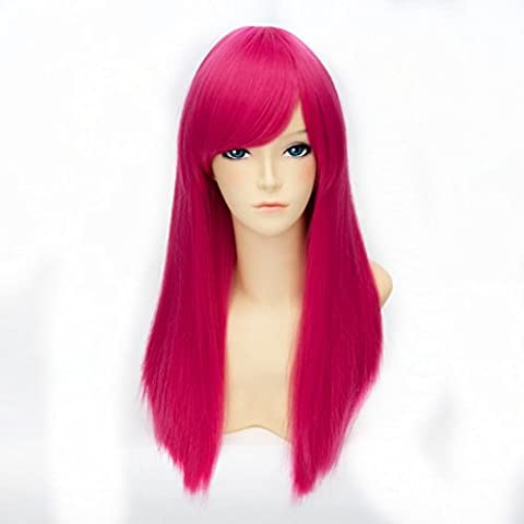 55CM Long Straight Stylish Women Lady Anime Cosplay Hair Full Wig pink