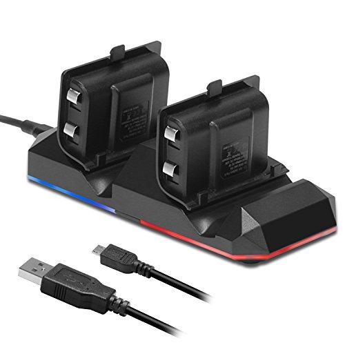 Chargeur Manette Xbox One KINGTOP Dual Station de Recharge avec 2 Batteries Rechargeables de 1200mAh et Câble USB pour Contrôleur Xbox One / S / X / Elite