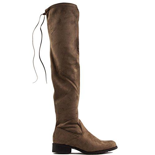 Toocool - Scarpe donna stivali stivaletti elastici tacco basso eco camoscio nuovi YY6510 Kaki