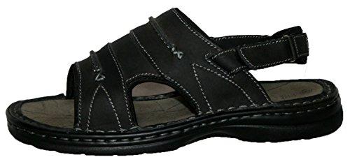 Dessus en cuir pour homme à enfiler velro Bar Sangles Sport Sandales Noir - noir