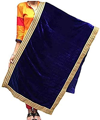 Varun Cloth House Womens Woollen Velvet (shaneel) Side Border Laced Stole (vch4284, Navy, Free Size)