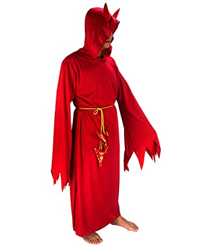 Herren Red Devil eckig Kapuzenmantel Tunika Halloween Ostern Party Cosplay Kostüm (Little Red Riding Hood Kostüm Ideen Für Erwachsene)