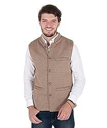 Zoravie Mens Solid Cotton Sleeveless Nehru Jacket, Beige