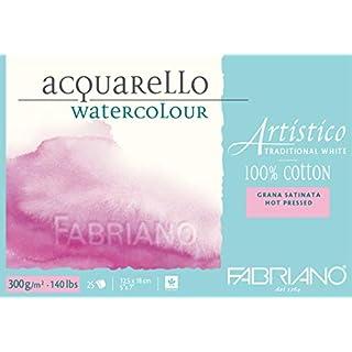 Fabriano ATW BL Echtbuetten Watercolour Paper Hahn Emuehl 4CO 5x 7-inch, White
