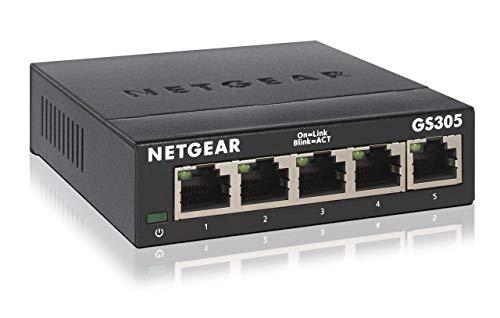 Netgear GS305-300PES 5-Port Gigabit Switch (lüfterlose Bauweise, einfache Plug und Play Installation, Layer2, robustes Metallgehäuse, energiesparend, RJ45-Anschlüsse aus Metall)
