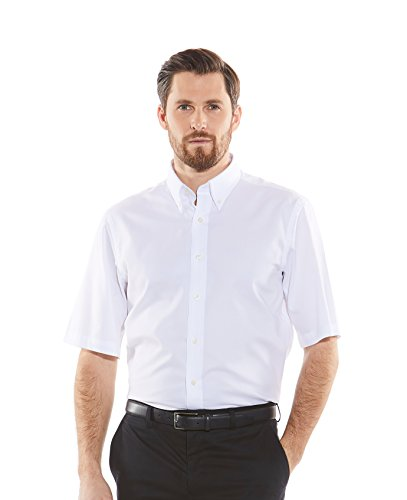 Savile Row Men's White Pinpoint Slim Fit Short Sleeve Button-Down Casual Shirt M (Slim Fit Pinpoint)