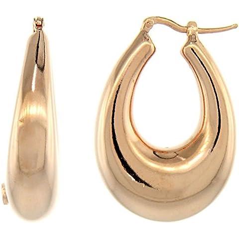 Revoni-Collana in argento Sterling in rilievo Italiano-Orecchini a cerchio con finitura in oro rosa, a U, 1 5/16 in. 33 mm di altezza - Oro Collana In Rilievo