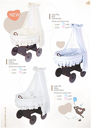 "Brand New Wicker Crib Moses Basket Cot""Lulu Tre"" from MJmark (Blue)   1"
