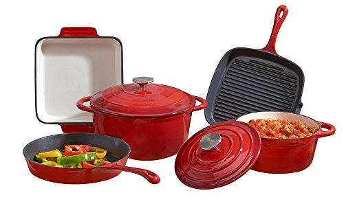 Cooks Professional Deluxe Cast Iron Cookware Complete 5 Piece Cooking Set. (Red)