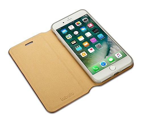 Labato EINFACH PU Lederhülle im Bookstyle für iPhone 7, mit unsichtbarem Magnetverschluss, Handytasche in Gold Lbt-IP7-10Q84 gold