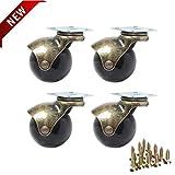 Roulettes a boule arrondie avec plaque pivotante 360 degrés à capuchon Plaque...