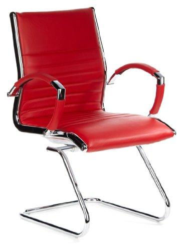 hjh OFFICE 660535 Konferenzstuhl Freischwinger PARMA V Leder rot chrom, Klassiker, ergonomisch...