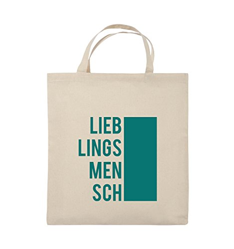 Comedy Bags - LIEBLINGSMENSCH - BLOCK - Jutebeutel - kurze Henkel - 38x42cm - Farbe: Schwarz / Pink Natural / Türkis