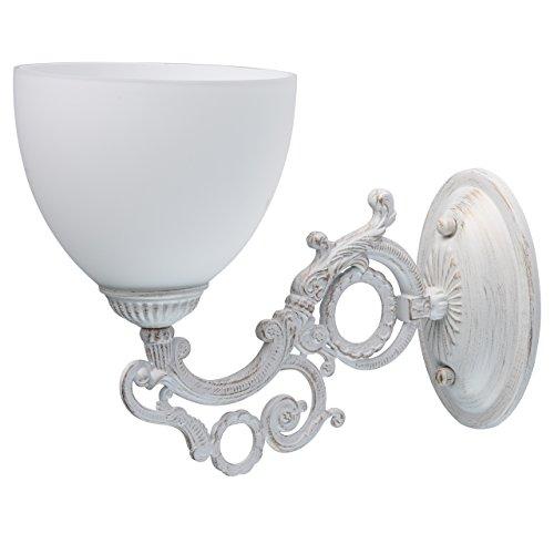 MW-Light 450026501 Shabby Chic Wandleuchte Weiß Glasschirm Klassisch Schlafzimmer -