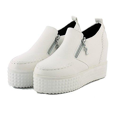 VogueZone009 Femme à Talon Haut Zip Dépolissement Rond Chaussures Légeres Blanc