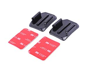 2 Pcs Curved Surface Adhesive Mounts with 3M Stickers for GoPro Hero 1, Hero 2, Hero 3, Hero 3+, Hero 3 Plus, Hero 4 Camera - Black